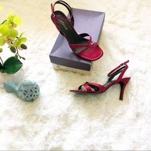 Ann Taylor | Red Satin Stappy Heels